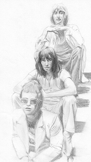 Dee, Nigel and Elton in stairwell, 1970